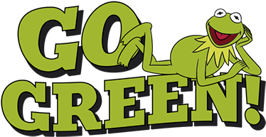 "TenVinilo. Vinilo go green Barrio Sésamo. Pegatinas infantiles con dibujo del muppet favorito de tus hijos: la Rana Gustavo subida encima del texto en inglés ""vuélvete verde""."