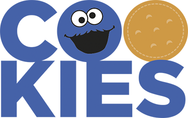 """TenVinilo. Vinilo infantil cookies monstruo de las galletas. Vinilo decorativo con un dibujo de Triky, el famoso muppet de Sesame Street. Su rostro sustituye a la """"O"""" de su comida favorita: galletas en inglés."""