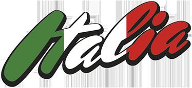 TenVinilo. Vinilo texto bandera de Italia. Pegatina con un diseño original y moderno con el nombre del país transalpino pintado con los colores de su emblema patrio.