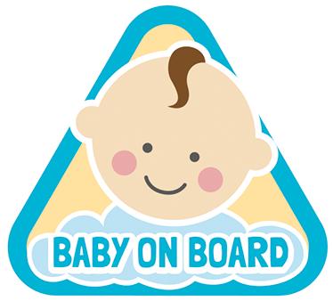TenStickers. Sticker Auto baby. Een sticker geschikt voor de auto, of bus met daarop de Engelse tekst ´baby on board´ en afbeelding van baby.