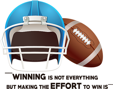 "TenStickers. Wandtattoo American Football Helm. Sportliches Wandtattoo für American Football Fans mit Helm und Aufschrift ""Winning is not everything, but making the effort to win is"""