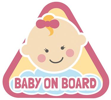 TenStickers. Sticker auto baby rose. Deze sticker van een verkeersbord driehoek met daarin een schattige baby, laat iedereen zien dat je een troste moeder of vader bent.