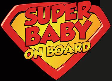 TenStickers. Sticker voiture Super Baby On Board. Vous êtes fan de superman et voulez signaler aux usagers de la route que vous avez un bébé à bord de votre véhicule? Ce sticker est fait pour vous.