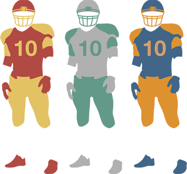 TenStickers. wallsticker football trio. This decorative wall sticker featuring an original design of a couple of football players in different colours..