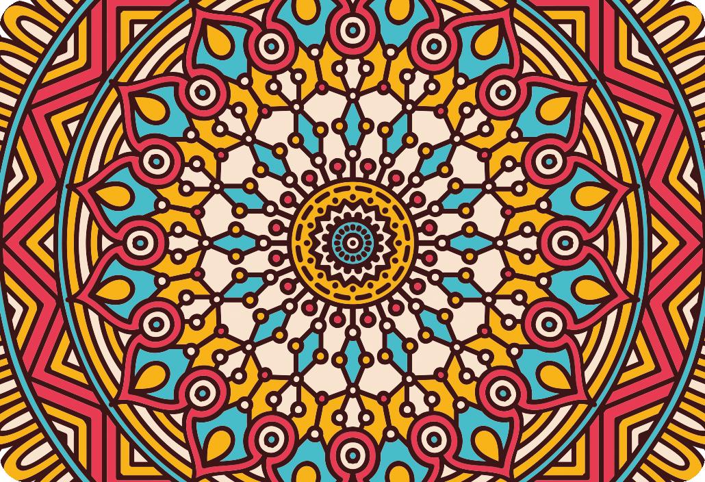 TenStickers. Sticker mandala coloré PC. Sticker d'un magnifique mandala coloré pour PC. Cet autocollant est parfait pour décorer votre PC mais aussi d'autre surfaces lisses.