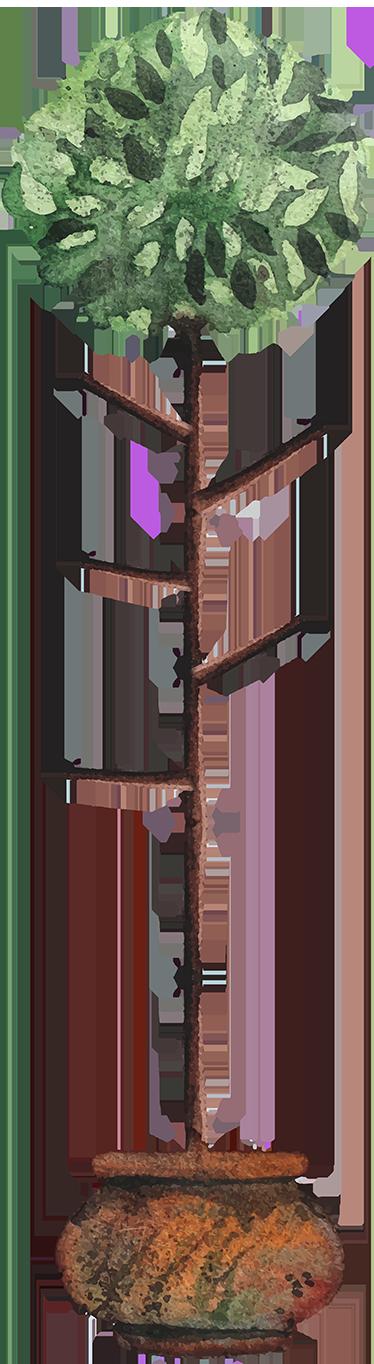 TenStickers. Sticker arbre pot. Sticker représentant un petit arbre dans un pot. Cet autocollant peut aussi servir de porte manteaux, nous vous offrons trois crochets dans le colis.