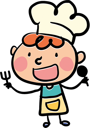 TenStickers. Happy Cartoon Chef Wall Sticker. Kitchen Wall Sticker of a chef smiling holding a serving spoon and fork. Perfect fun wall sticker for creating a happy atmosphere when cooking meals. Add some colour to the kitchen and makes your kids smile with this high quality anti-bubble vinyl.