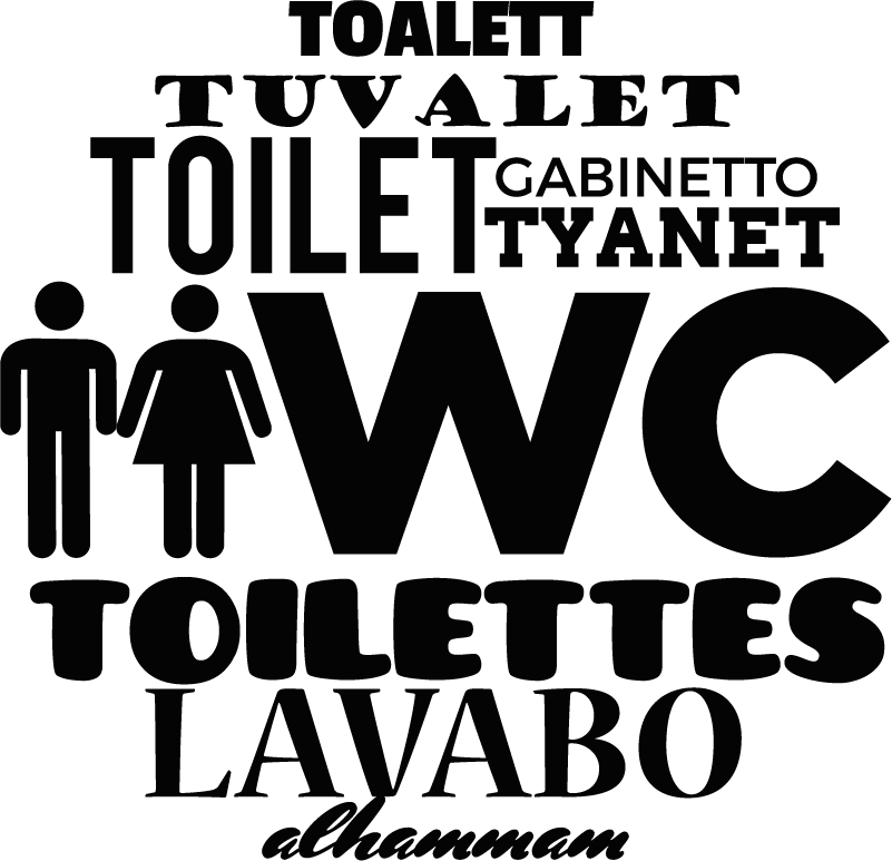 TenStickers. Adesivo segnaletica WC lingue. Sticker con la toilette in varie lingue per segnalare il bagno. Disponibile in dimensioni personalizzabili. Facile da applicare.