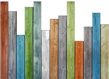 TenStickers. Sticker planches en bois colorées. Sticker représentant des planches en bois de toutes les couleurs.