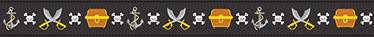 TenVinilo. Cenefas infantiles bandera pirata. Vinilo mundo pirata que muestra una trama de simpáticos motivos: una calavera, un tesoro, un ancla y unas espadas, todos ellos en vivos colores.