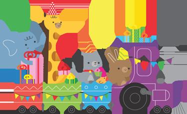 TenStickers. Sticker train animaux. Ce sticker décoratif amusant est idéal pour la chambre, la salle de jeux ou la crèche de vos enfants!