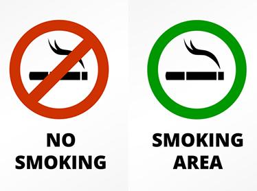 TenStickers. Sticker interdiction/autorisation de fumer. Autocollant  représentant l interdiction et l'autorisation de fumer. Très pratique pour les lieux publics et autres lieux.