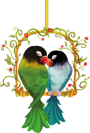 TENSTICKERS. 恋するオウムの鳥ウォールステッカー. 2匹のオウムが恋をしている美しい動物の壁のステッカーをチェックしてください。泡やシワがなく、塗布も簡単!