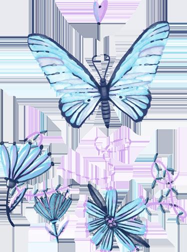 TENSTICKERS. 水彩蝶. この芸術的で美しい装飾的な壁のステッカーであなたの家を明るく夏らしい雰囲気にしましょう!蝶といくつかの花が特徴