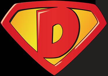 TENSTICKERS. スーパーdスーパーヒーローステッカー. 最初の文字dに基づいてエンブレムを表現した、自宅の小さな子供向けのスーパーヒーローステッカー。