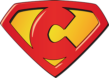 TenStickers. Super C superhero sticker. Superhero stickers for your kids with a representation of a shield based on the C letter. Children's vinyls ideal to decorate your kids' room.
