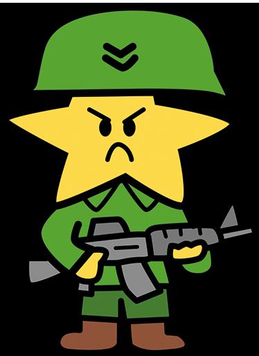 TenStickers. Sticker étoile militaire armé. Sticker avec une illustration d'une étoile habillée en militaire et tenant une mitraillette.