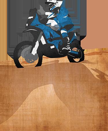 TENSTICKERS. 砂漠のバイクデカールのパイロット. ダカールラリーと同じくらい象徴的なモータースポーツ、エンデューロ、レイド、イベントのファンのためのスポーツウォールステッカー。パーソナライズされたステッカー。