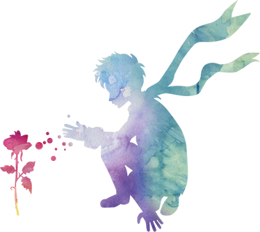 TenStickers. Colourful Little Prince and Rose Sticker. Kids bedroom wall stickers - A little prince wall decal that is bursting with colour. Your child will love this design of their favourite book!