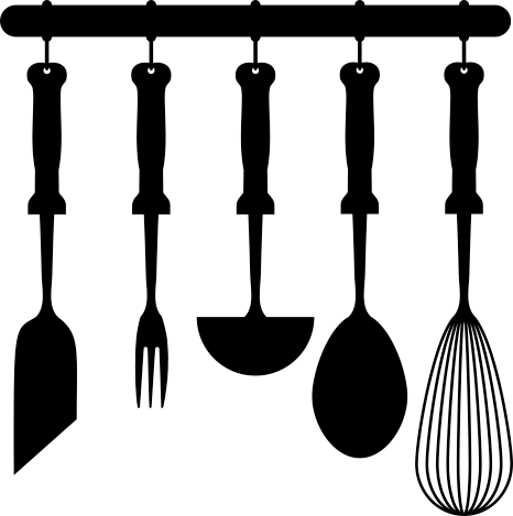 TenStickers. Kitchenware Wall Sticker. Kitchen Wall Stickers - Kitchen utensils hanging rack design. Ideal for adding a touch of style to your kitchen. This classic design is available in a wide range of colours and sizes and can be placed on any flat surface to provide the perfect atmosphere for cooking and eating food.