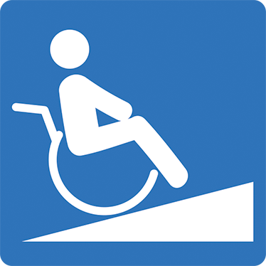 TenStickers. Disbaled Ramp Sign Sticker. Disabled Ramp Sign to signal where disabled ramps are used. Can be used for businesses, doctors, hospitals and cars with ramps.
