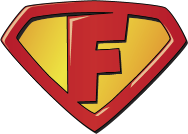 "TenStickers. Super F Superhero Sticker. Super man ""f"" child sticker. Help your child be a superhero! Easily applicable on walls, doors and other surfaces.  Available in many sizes!"