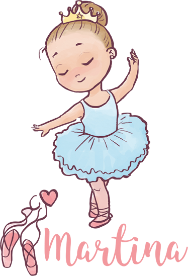 TenStickers. Ballerina Name Personalised Wall Sticker. Personalised wall sticker for decorating any child's bedroom or dance studio. Lovely design of dancing little girl with your daughter's name written in an elegant cursive font to add a fabulous touch to their room's decor.