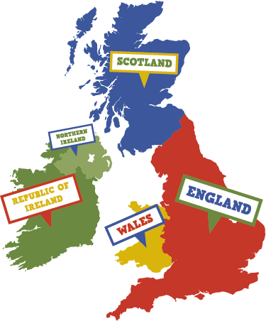 TenStickers. UK and Ireland Map Kids Wall Sticker.. A UK and Ireland wall sticker includes the map of United Kingdom and the Republic of Ireland for your home. Choose your size.