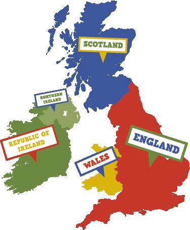 Kids Map Of England.Uk And Ireland Map Kids Wall Sticker Tenstickers