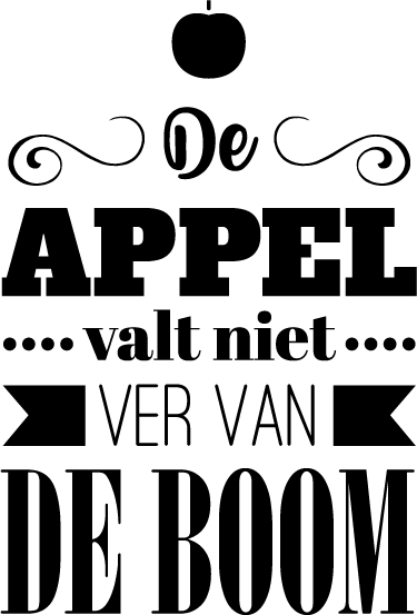 TenStickers. Muursticker de appel en de boom. Een muursticker met de tekst ´De appel valt niet ver van de boom´ is een prachtige sticker van een tekst die gegrond staat in de Nederlandse cultuur.
