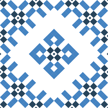 TenStickers. Blue and White Geometric Tile Sticker. Geometric Blue Tile stickers to decorate your home and its tiles. Impress all of your house guests with this unique design.
