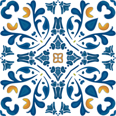 TenStickers. Portuguese Filigree Tile Sticker. Tile Sticker border for kitchens or bathrooms. High quality vinyl design showing typical Portuguese patterns with a blue matte finish.