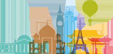 TenStickers. Muursticker kleurrijke monumenten. Een kleurrijke wandsticker die speciaal gemaakt is zodat je elk monument vanuit de wereld in je huis kan halen.