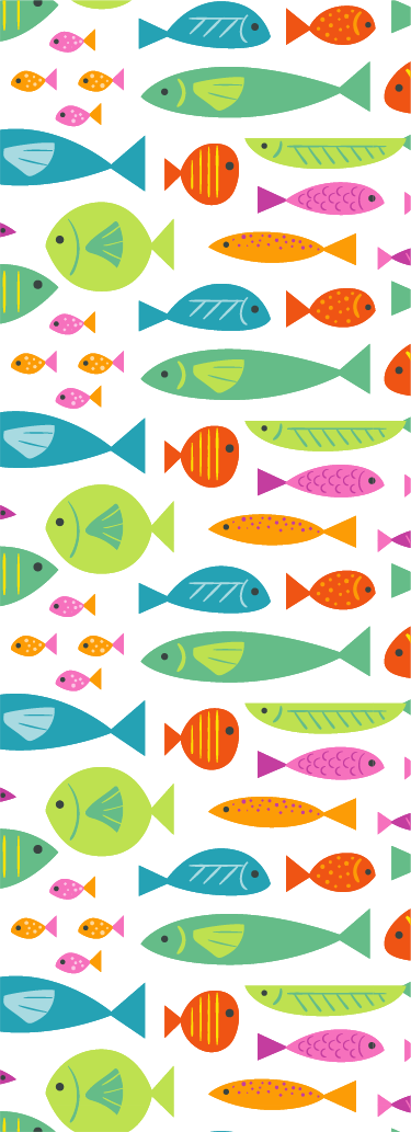 TenStickers. Szivárvány hal zuhany matrica. Zuhanyképernyő matrica sokszínű hal mintával, amely ideális a fürdőszoba zuhanyajtójának egyedi és színes díszítéséhez.