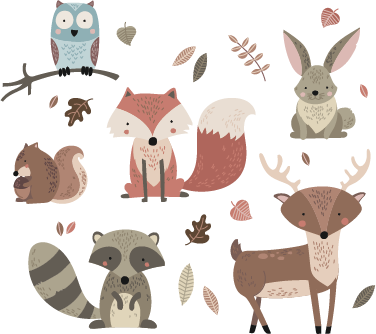 TenStickers. Woodland Animals Children's Sticker. This fun and cute animal wall sticker featuring a design of a variety of woodland creatures is perfect for your children's nursery, playroom or bedroom!