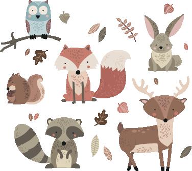 TenStickers. Sticker enfants animaux de l'automne. Donnez une ambiance automnale à la chambre de votre enfant avec ce sticker représentant des animaux typiques de cette saison.