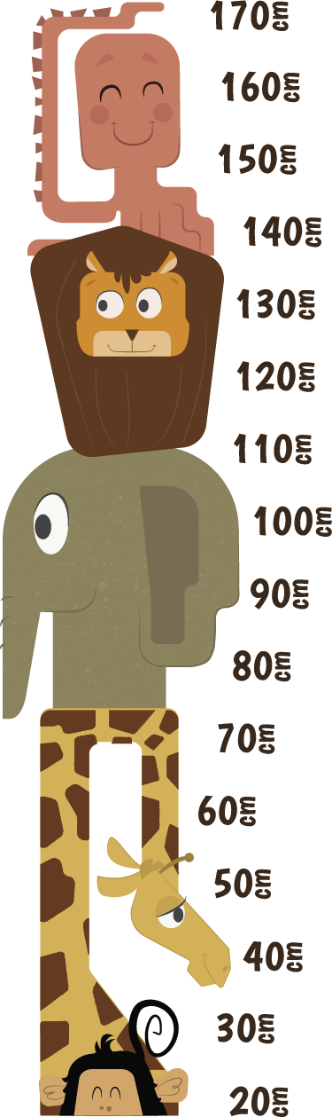 TenStickers. Muurdecoratie sticker groeimeter wilde dieren. Een sticker die dient als een meetlat die tot wel 170cm groot gaat! Deze sticker gaat dus wel even mee, bij de groei van uw kind.