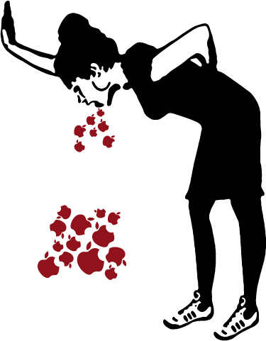 TENSTICKERS. Bansky lovesickラップトップスキン. Banskyの作品に基づくmacintoshロゴに基づいてリンゴを嘔吐する若い女性を表現したラップトップステッカー。