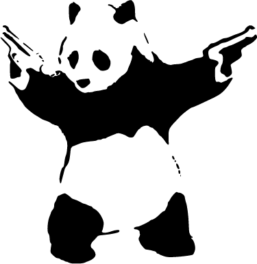 "TenStickers. Banksy Panda Laptop Sticker. Decorate your laptop with the iconic stencil design by famous street artist, Banksy. This monochrome laptop sticker shows a panda wielding two pistols, based on the phrase ""a panda eats, shoots and leaves""."