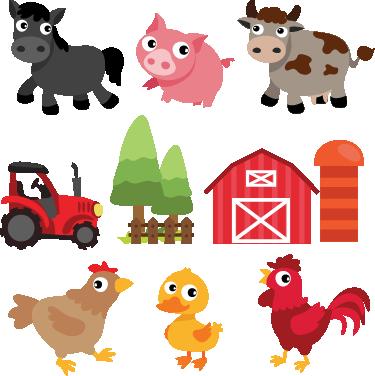 TenStickers. Adesivi murali bambini animali fattoria. Adesivi murali bambini con tanti diversi animali della fattoria: un gallo, una mucca, una gallina, un pulcino, un asino e un maialino.