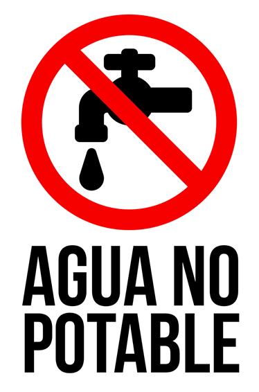 TenVinilo. Vinilo señal agua no potable. Señalización adhesiva, cartel para indicar que el agua de una fuente no es apta para el consumo.