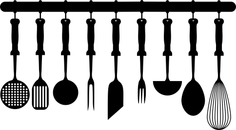 TenStickers. Kitchenware Collection Wall Sticker. Kitchen Stickers - Illustration of cooking utensils hanging in the kitchen. This silhouette wall sticker is available in many different colours and sizes so you can personalise your kitchen decor the way you want!