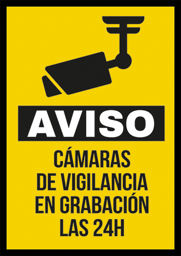 TenVinilo. Cartel adhesivo cámaras vigilancia. Adhesivos de señalización para indicar que en el portal de tu casa, tu empresa o tienda hay cámaras de videovigilancia pendientes todo el día.