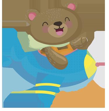 TENSTICKERS. カスタムクマ飛行機野生動物ステッカー. 飛行機を飛ばす微笑むクマのこのカスタマイズ可能なステッカーで、あなたの子供の寝室を暖かく楽しい雰囲気にしてください。お子様の名前を追加してください。