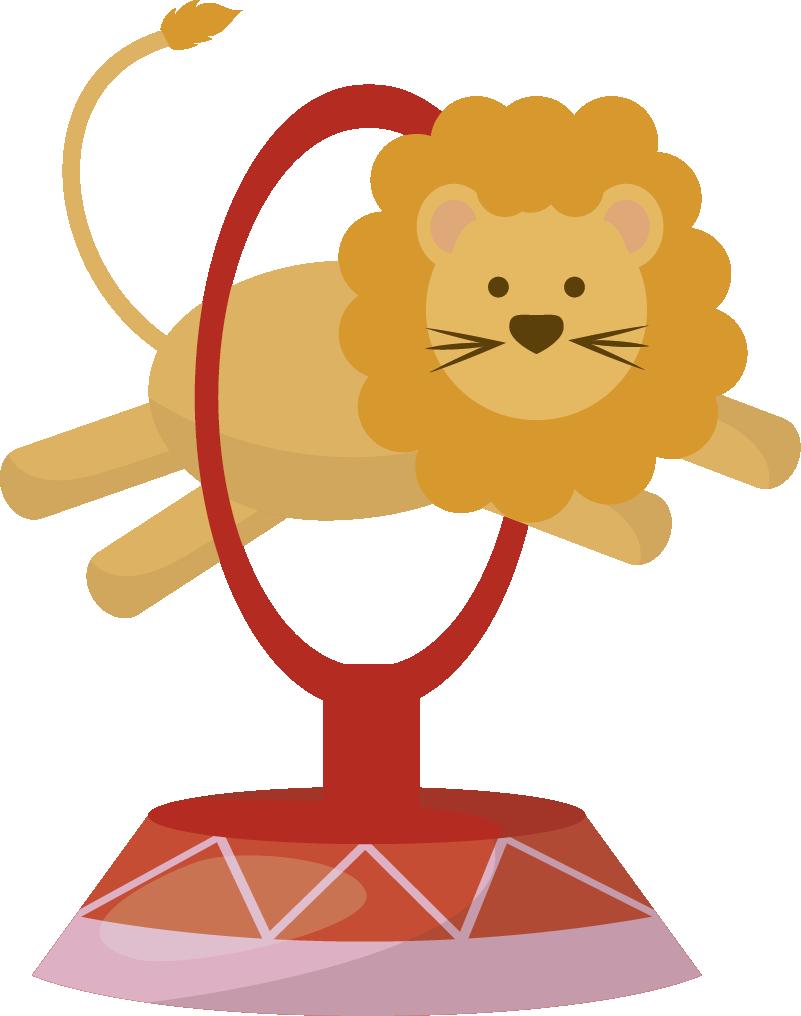 TenStickers. Sticker enfant animaux sautant cirque. Stickers pour enfant illustrant un lion et un ours sautant dans des cercles comme au cirque.Super idée déco pour la chambre d'enfant et tout autre espace de jeux.