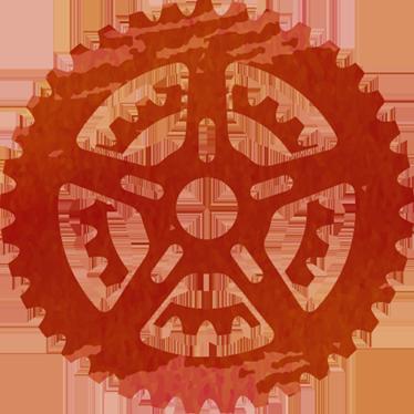 TenVinilo. Vinilo rueda dentada acuarela roja. Pegatinas para aficionados al ciclismo con el perfil de un piñón de bicicleta en tonos rojos.
