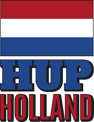 """TenStickers. Muursticker Hup Holland. Support het Nederlands elftal met deze muursticker waar de Nederlandse vlag met de tekst """"Hup Holland"""" op is afgebeeld. Voordelig personaliseren."""
