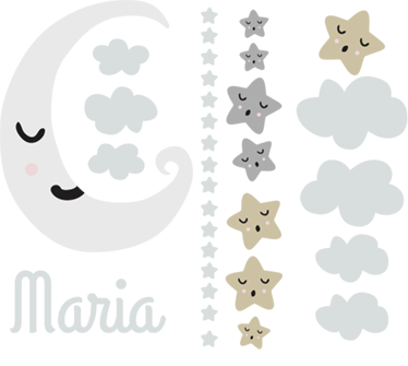 TenStickers. Personalised Moon and Stars Wall Sticker. Custom Wall Stickers - Personalise your child's nursery with this gorgeous decal showing their name surrounded by a sleeping moon and stars.