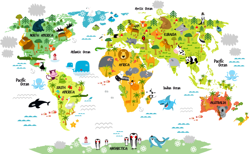 TenStickers. Kids Animal World Map. Children's wall sticker showing an illustration of the world map alongside lots of playful animals. Ideal for decorating a child's bedroom or nursery.