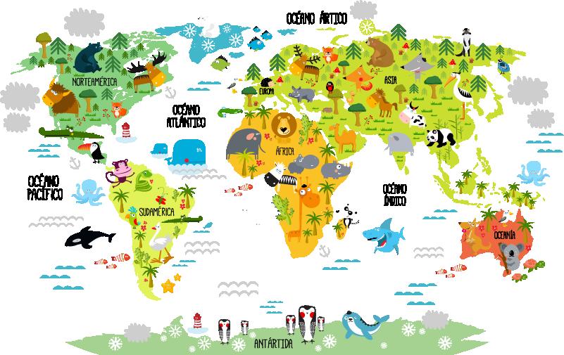 TenVinilo. Vinilo infantil mapamundi animal. Vinilos para habitación infantil con la silueta de un mapa del mundo y sobre él el dibujo de la fauna autóctona de cada lugar.